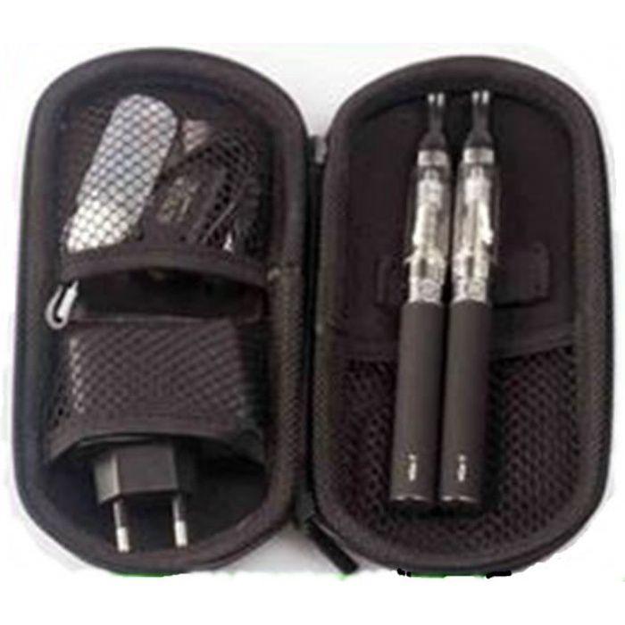 Pack 2 Batteries eGo 650mAh + cartomiseurs CE5 avec cable USB chargeur mural et trousse Noire