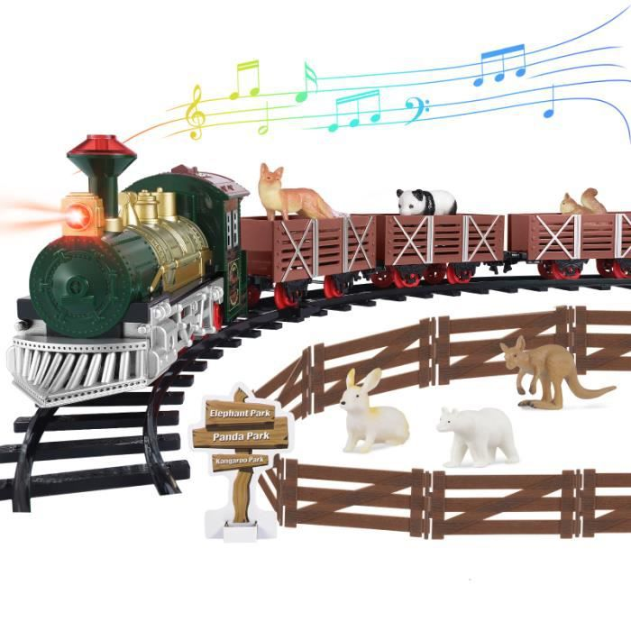 IbaseToy Vintage Vapeur Train Électrique Modèle Avec Phare pour NOËL figurine miniature - personnage miniature monde miniature