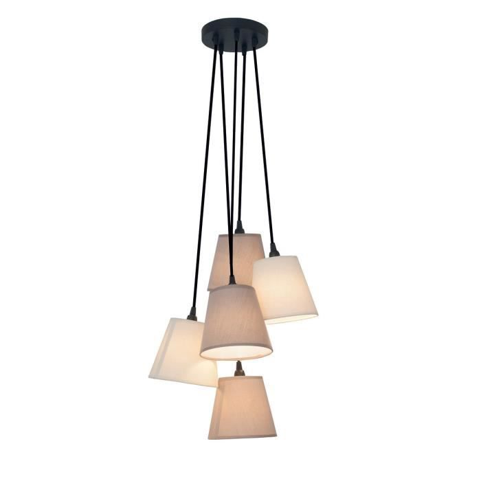 Suspension multiple 5 lampes NATURE chocolat et beige en métal-tissu