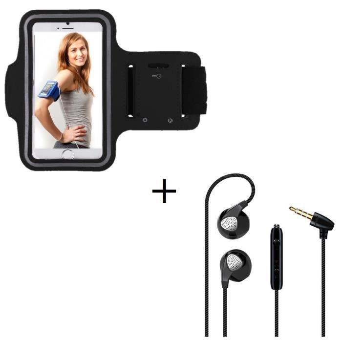 Pack Sport pour ASUS ZenFone AR Smartphone (Brassard de Sport + Ecouteurs Plat avec micro) Courir T7 - Couleur:NOIR