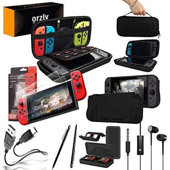 Nintendo Switch Accessoire, Orzly Ultimate Pack pour Nintendo Switch [Pack comprenant: Protecteurs d'écran en V ORZCARRYBAGNS