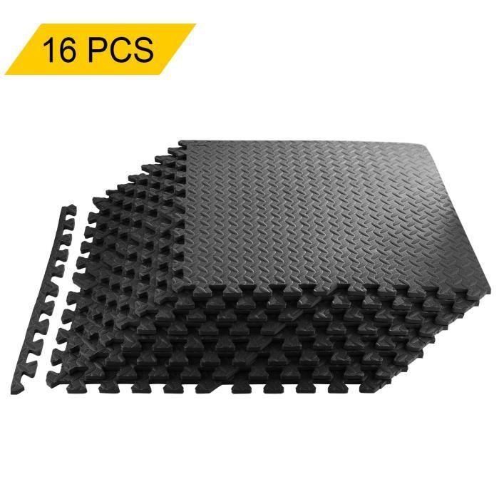 16PCS Tapis de Protection de Sol Tapis Puzzle en Mousse EVA Tapis Mousse de Sol Tapis de Gym Matelas Puzzle Ensemble 60 x 60cm