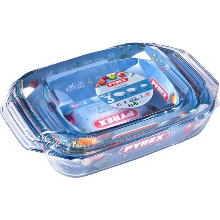 PYREX - Lot de 3 plats à four rectangulaires Irresistible 28x17 cm + 35x23 cm + 39x25 cm