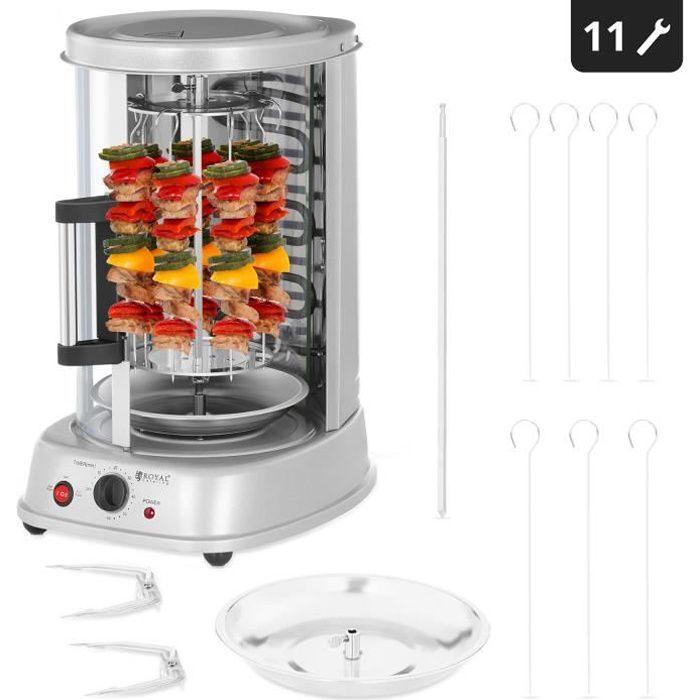Rôtissoire verticale Royal Catering RCGV-1400 (21L, 3 en 1, 1500W, jusqu'à 120 °C, minuterie jusqu'à 60 min, nombreux accessoires)