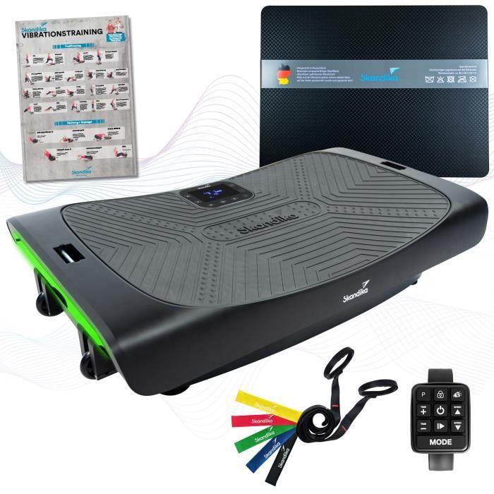 Skandika Vibration Plate V3000 + Tapis de protection - Plateforme vibrante incurvée - LED - Bluetooth - 4D - 3 Moteurs