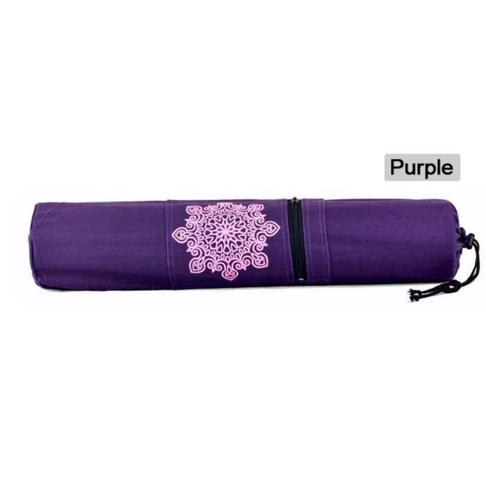 Sac de tapis de yoga durable de transport sac à cordon sport exercice gymnase fitness 70cm x 16cm -Violet