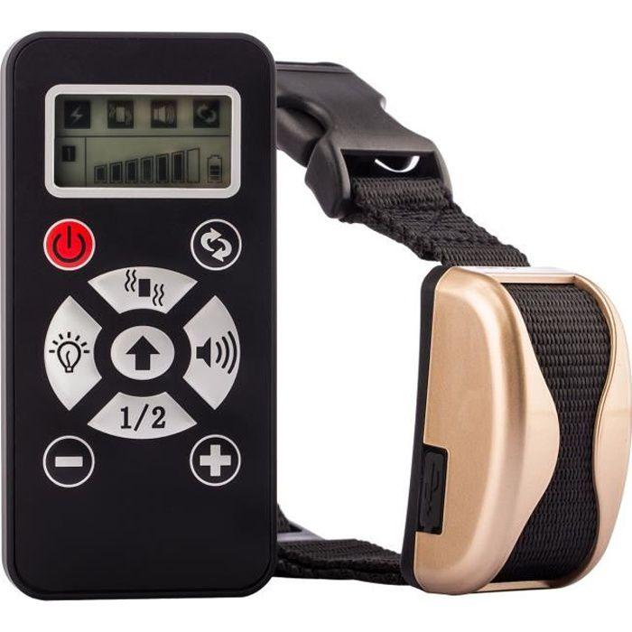 Tera® collier de dressage Anti-aboiement rechargeable étanche manuel/automatique à portée de 800 m pour entraîner chien (Or)