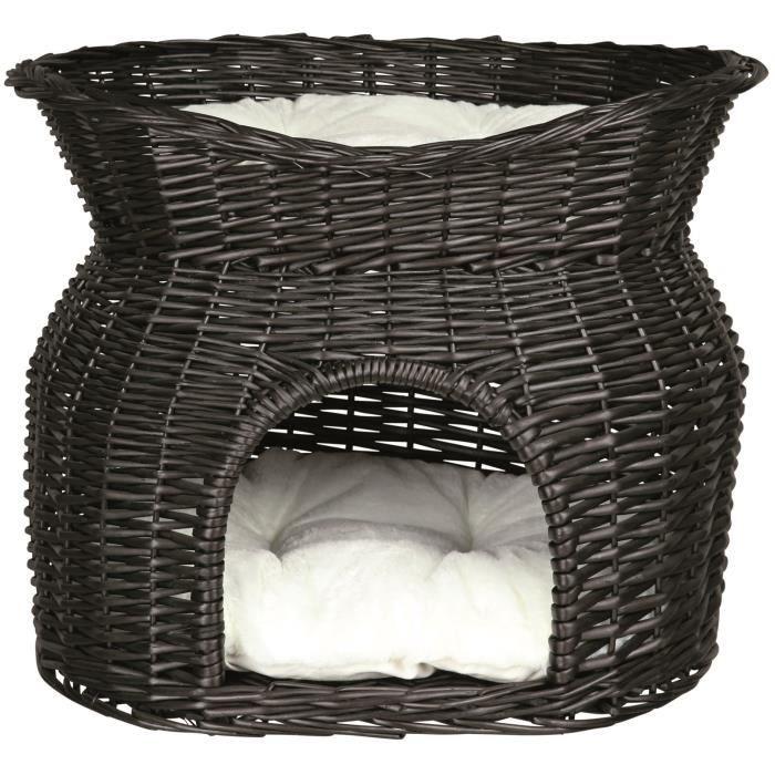 TRIXIE Panier osier avec lit au dessus et 2 coussins 54 × 43 × 37 cm noir pour chat