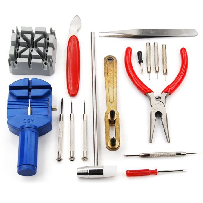 TRIXES Ensemble de 16 montre kit d'outils de réparation pour la marche arrière Réglage de la montre-bracelet démontage et extract...