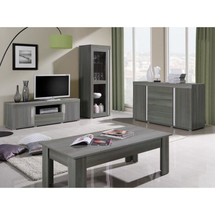 Ensemble meuble tv bois gris lavigne meuble house for Ensemble salon bois