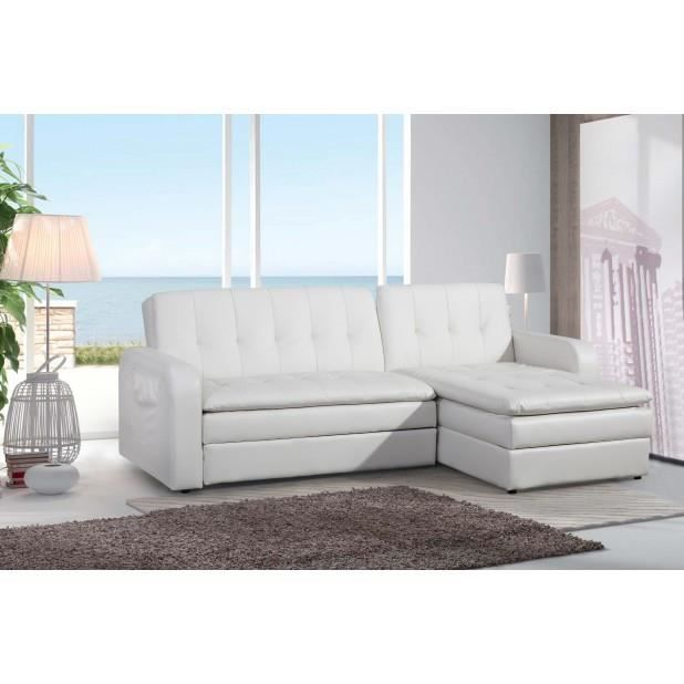 Magnifique andromeda blanc canap convertible coffre pu for Canape convertible avec meridienne
