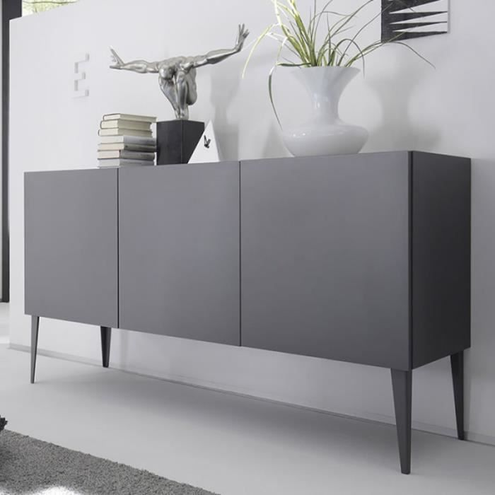 buffet enfilade gris laqu mat avec pi tement balty 2. Black Bedroom Furniture Sets. Home Design Ideas