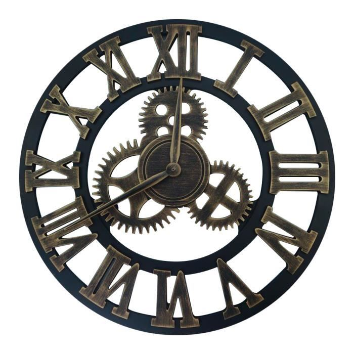 horloge vintage murale or chiffres romains bois grande horloge d coration d 39 int rieur achat. Black Bedroom Furniture Sets. Home Design Ideas