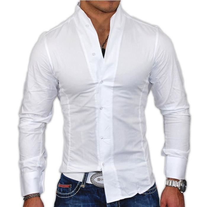 chemise fashion homme col mao blanc 75110 blanc achat vente chemise chemisette cdiscount. Black Bedroom Furniture Sets. Home Design Ideas