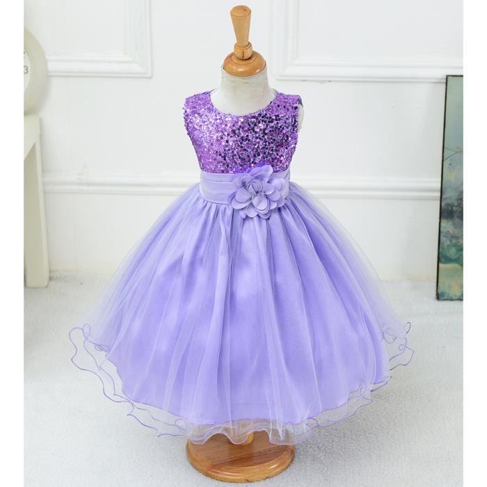 Robe Ceremonie Bapteme Fille Enfant Robe D Enfant Pour Mariage Robe Courte Violet Tu Achat Vente Robe De Mariee Cdiscount