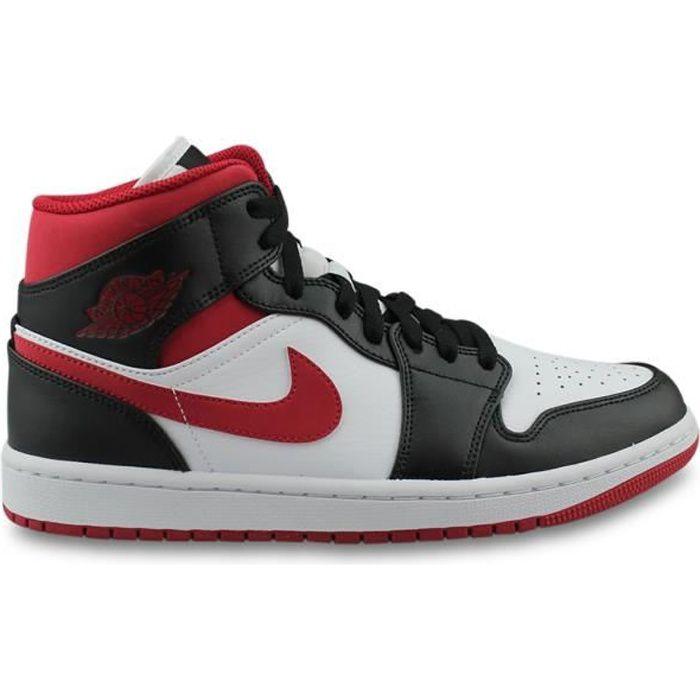 Jordan 1 mid rouge et blanc - Cdiscount