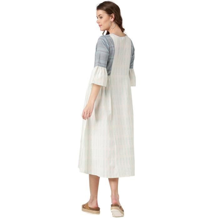 Womens Off White Geometric A Line Cotton Flex And Handloom Dress 1F8GBM Taille-34