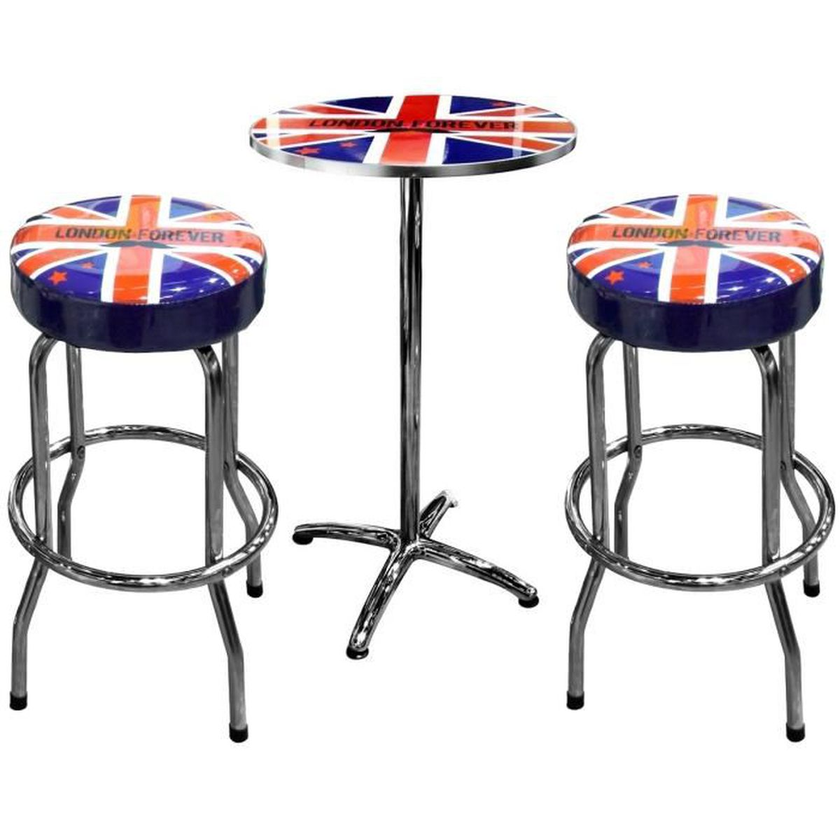 set ensemble terrasse de bistrot table en m tal deux tabouret d cor londres drapeau ru rouge. Black Bedroom Furniture Sets. Home Design Ideas