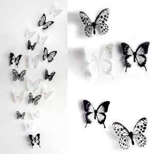 STICKERS 18pcs Papillons 3D PVC Stickers Muraux Noir Et Bla