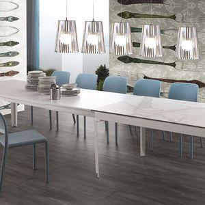 TABLE À MANGER SEULE Table à manger 16 personnes en céramique blanche F