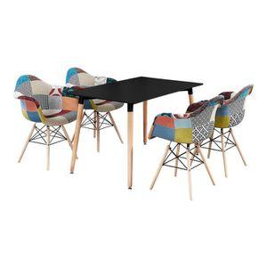 TABLE À MANGER COMPLÈTE Table Noire + 4 Chaises avec Accoudoirs en Tissu P