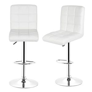 TABOURET DE BAR Lot de 2 Tabourets de Bar Blanc Style Contemporain