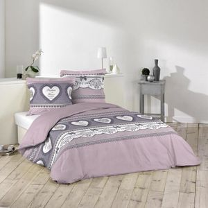 housse de couette 220x240 violet achat vente pas cher. Black Bedroom Furniture Sets. Home Design Ideas