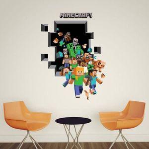 OBJET DÉCORATION MURALE Minecraft Stickers Muraux Cartoon Autocollants Sti