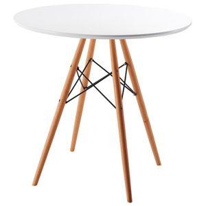 TABLE À MANGER SEULE Table à manger ronde en chêne laqué blanc - Dim :