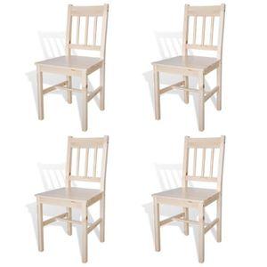CHAISE 4pcs Chaises de Salle à Manger en Bois de pin Natu