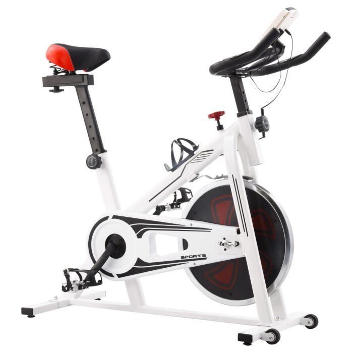 Vélo d'appartement-Vélo Cardio Biking spinning d'Exercice avec capteurs de pouls Maison Entraînement Gym- Blanc et rouge