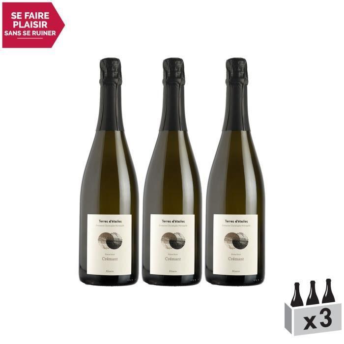 Alsace Crémant Extra Brut Blanc - Lot de 3x75cl - Terres d'étoiles - Vin AOC Blanc d' Alsace - Cépages Pinot Auxerrois, Chardonnay,