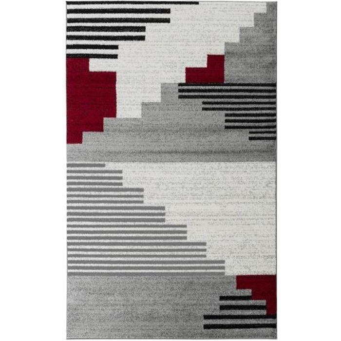 PINTA Grand tapis de salon contemporain - 200 x 280 cm - rouge