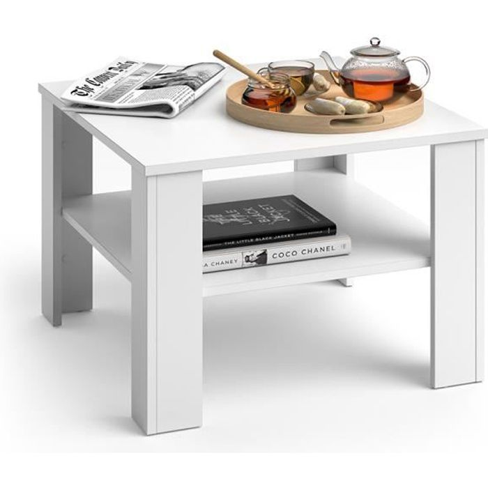 Table basse Vicco Homer Table de salon Table basse en blanc 60x60 table d'appoint