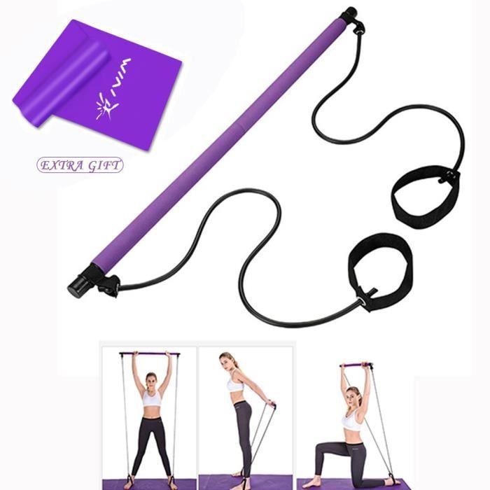 Pilates Kit de Barre avec des bandes de Résistance De Fitness Pilates Bâton Crossfit Musculation Bande Élastique D - Bleu - KOBM3897