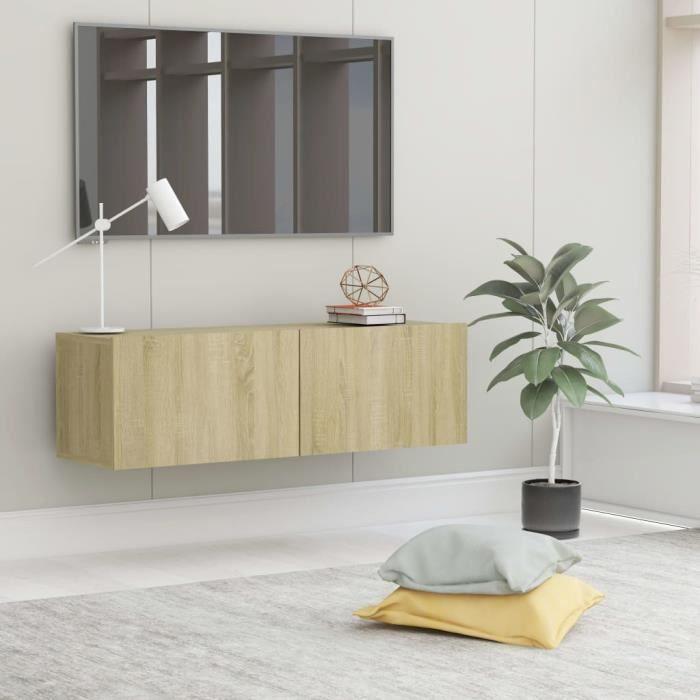 Meuble TV Mural Design Tendance Style Naturel - Avec 2 Portes Abattantes - Chêne sonoma Aggloméré - 100x30x30 cm