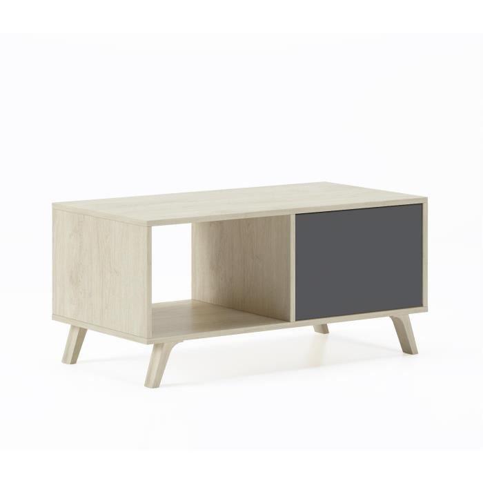Table basse avec portes, salle à manger, modèle WIND, couleur structure Puccini, couleur portes gris anthracite, 92x50x45cm de haut