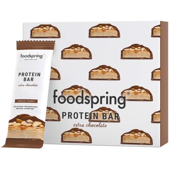 foodspring Protein Bar Extra Chocolate, Crunchy Peanut, 12 x 65g, l'en-cas idéal riche en protéine avec du vrai chocolat et peu de s