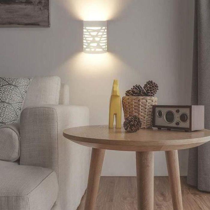 Applique Murale Interieur LED 7W Lampe Murale Blanc Appliques Murales en Plâtre pour Chambre Couloir Salon,Blanc Chaud