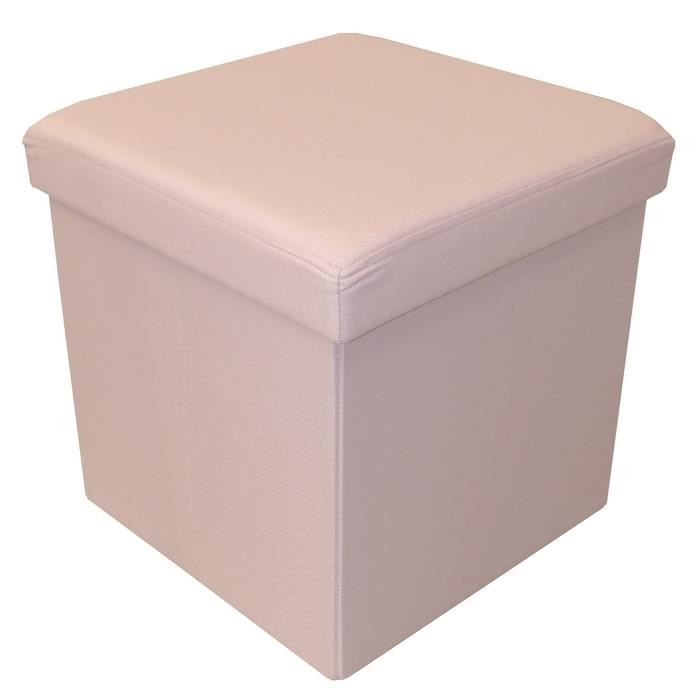 COTTON WOOD Pouf Coffre pliable Oxford - 35 x 35 x 35 cm - Rose