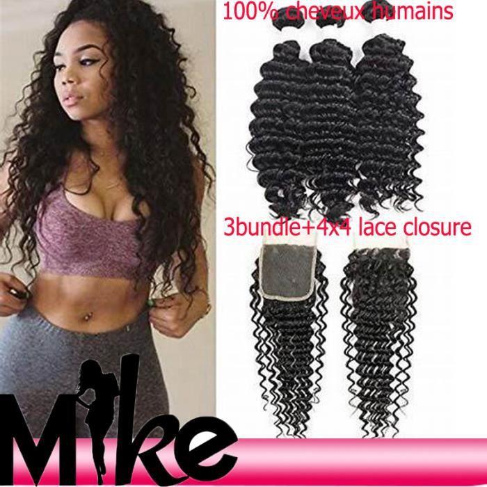 Lot 3 tissage bresilien boucle +closure cheveux naturels deep wave 10.12.14-+4*4 closure 10-