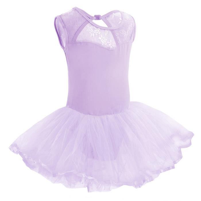 Tulle Tutu de Danse Classique Enfant Fille Ballet sans Manche Dancewear 3-14 Ans Violet