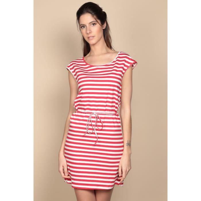 DEELUXE Robe marinière courte STRIPSTIME Red Stripes