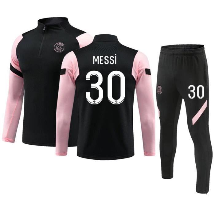 Maillot de Football Paris 2020-2021 Collection de Paris 30 Messi Survêtement de Entraînement Tenue de Training Noir pour Adulte