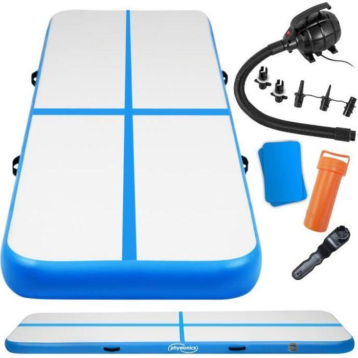Physionics® Tapis de Gymnastique Gonflable - 500/100/10 cm, Pompe à Air, Bleu - Airtrack, Tumbling, Tapis de Sol, Piste de Yoga
