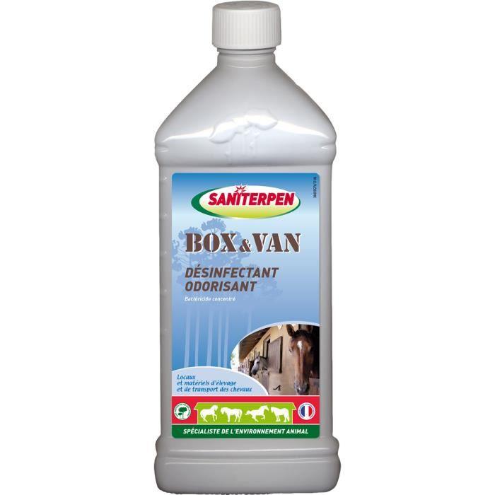 SANITERPEN Désinfectant concentré Box Van Odor - Pour environnement des chevaux et habitat - 1L