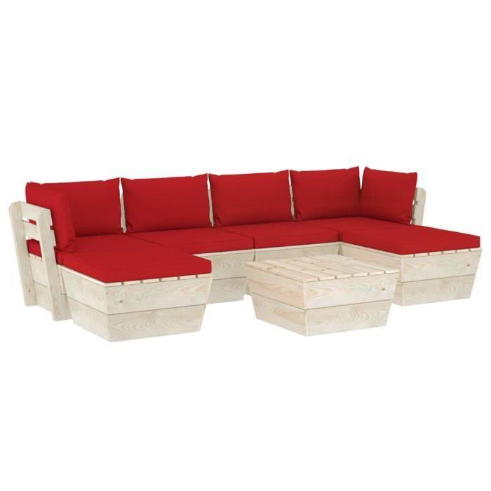 vidaXL Salon de jardin palette 7 pcs avec coussins Épicéa imprégné,Q253