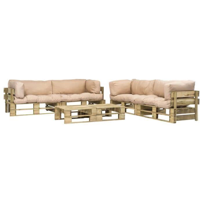 Canapés de jardin palette 6 pcs Coussins sable Bois vert FSC - Meubles/Meubles de jardin/Ensembles de meubles d'extérieur - Beige -