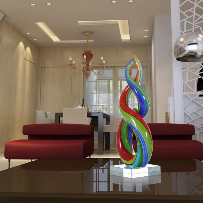 STATUE - STATUETTE Tooarts Cercle Sculpture Multicolor en Verre circu