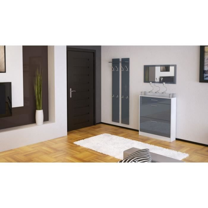 ensemble de hall d 39 entr e laqu blanc et gris achat vente meuble d 39 entr e ensemble de hall d. Black Bedroom Furniture Sets. Home Design Ideas